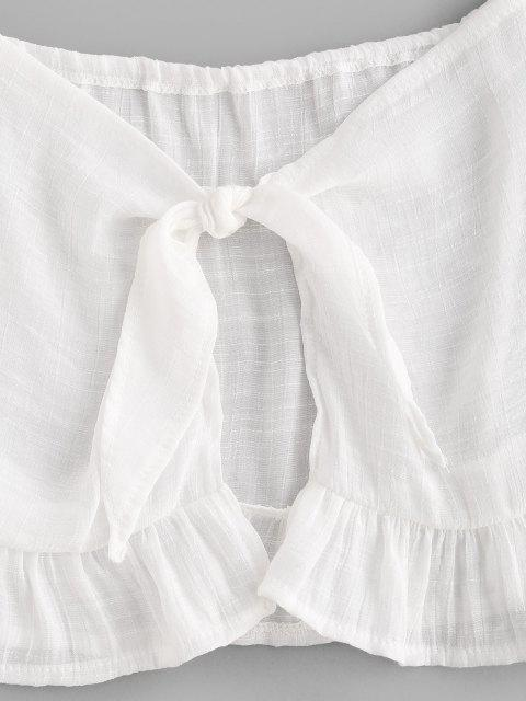 fashion Off The Shoulder Tie Front Ruffled Crop Top - WHITE ONE SIZE Mobile