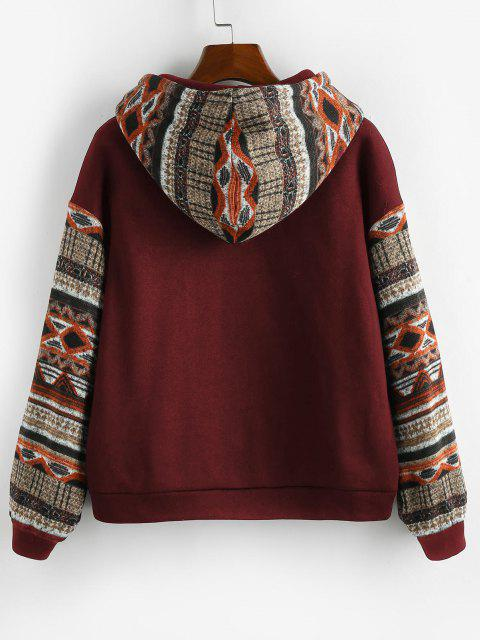 shops ZAFUL Ethnic Seamless Pattern Drop Shoulder Fleece Lined Hoodie - RED WINE M Mobile