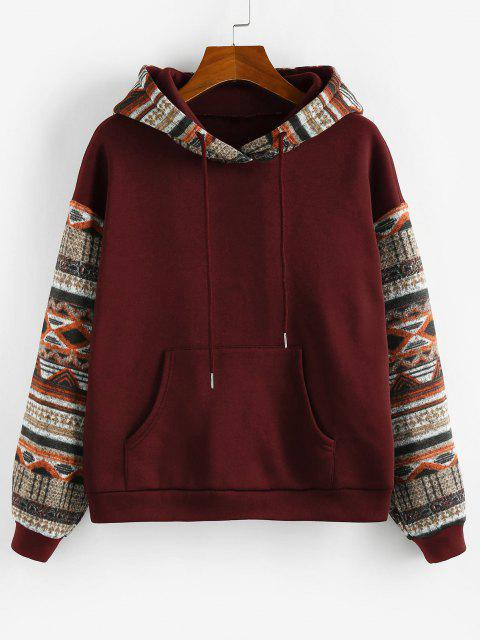chic ZAFUL Ethnic Seamless Pattern Drop Shoulder Fleece Lined Hoodie - RED WINE L Mobile