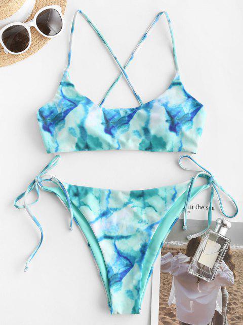 ZAFUL Maillot de Bain Bikini Teinté Croisé Au Dos - Vert S Mobile