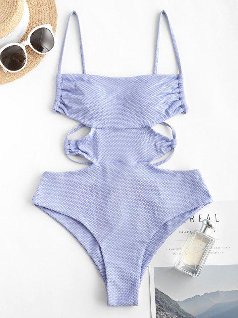womens ZAFUL Textured Criss Cross Cutout One-piece Swimsuit - LIGHT BLUE XL Mobile