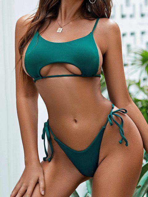 sale ZAFUL Ribbed Underboob Tie Side Thong Bikini Swimwear - PEACOCK BLUE M Mobile
