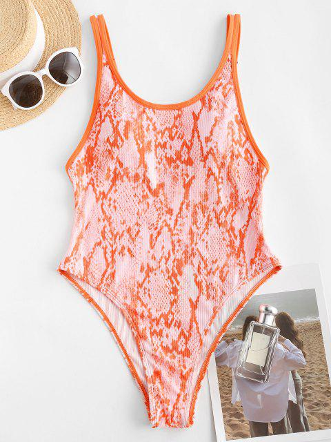 hot ZAFUL Ribbed Strappy Snake Print One-piece Swimsuit - LIGHT ORANGE S Mobile