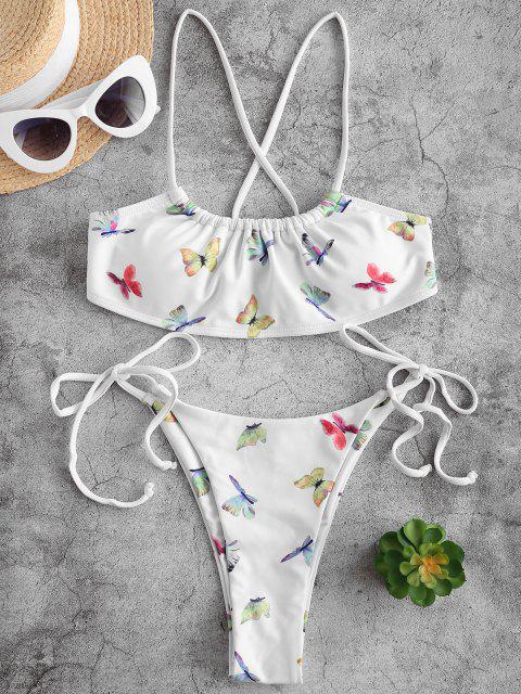 Costume da Bagno Bikini Stampato Farfalla con Lacci Laterali di ZAFUL - Bianca S Mobile