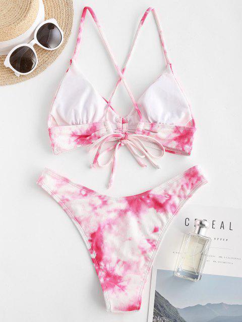 ZAFUL Krawattenfärbender Kreuzer und Querer Bikini Badebekleidung - Hell-Pink S Mobile