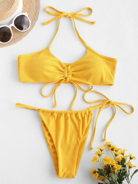 Costume da Bagno Bikini a Costine - Giallo S Mobile