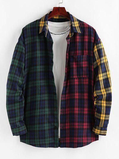 ZAFUL Colorblock Plaid Patchwork Pocket Shirt - Multi L