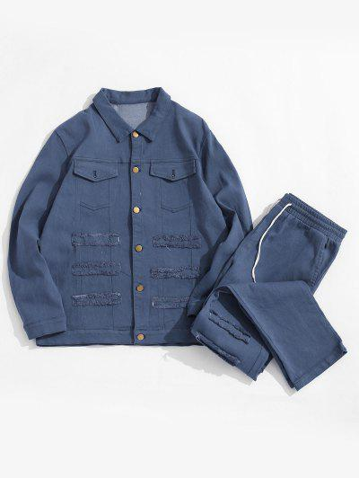 Frayed Patchwork Flap Pocket Jean Jacket And Denim Pants - Deep Blue Xs
