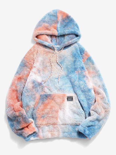 Kangaroo Pocket Tie Dye Faux Fur Fluffy Hoodie - Brown Sugar L