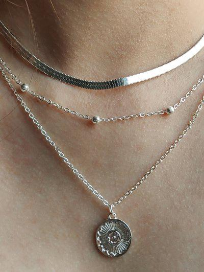 Coin Beads Multilayered Necklace - Silver