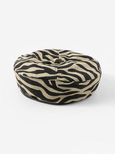 Zebra Printed Flat Beret Hat - Khaki