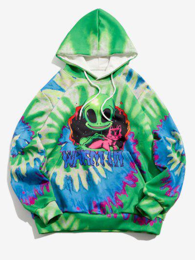 Tie Dye ET Cat Print Hoodie - Clover Green 3xl