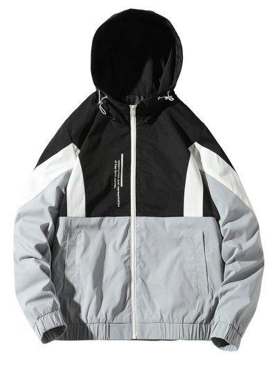 Colorblock Letter Zip Up Hooded Jacket - Black Xl