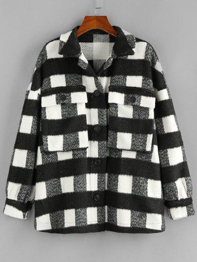 ZAFUL Manteau à Carreaux Goutte Epaule Avec Poche - Noir S