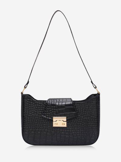 Textured Rectangle Shoulder Bag - Black