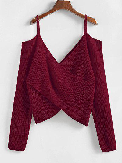 ZAFUL Overlap Cold Shoulder Jumper Sweater - Red Wine S