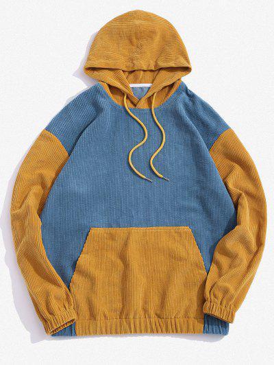Zweifarbig Hoodie Aus Kord - Blau L