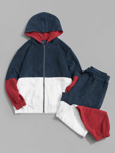 Contrast Hooded Corduroy Jacket And Pants Two Piece Set - Deep Blue L