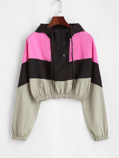 Snap Button Colorblock Windbreaker Jacket - Coffee M