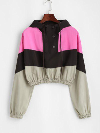 Snap Button Colorblock Windbreaker Jacket - Coffee L