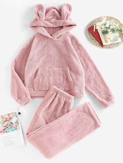 ZAFUL Plush Ear Hooded Drop Shoulder Pajama Pants Set - Pink S