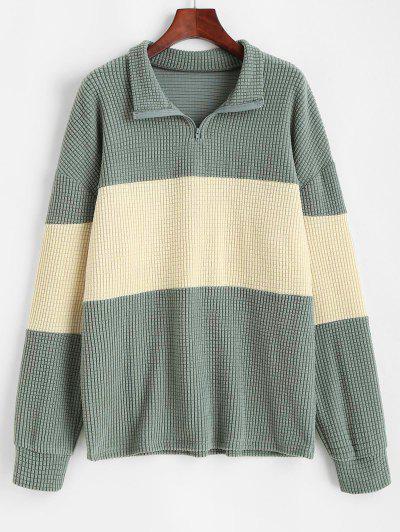 Sweat-shirt En Blocs De Couleurs à 1 / 4 Zip Surdimensionné - Vert Clair S