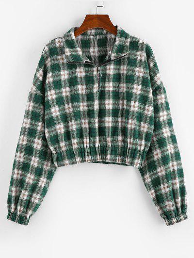 ZAFUL Plaid Half Zipper Cropped Sweatshirt - Deep Green S
