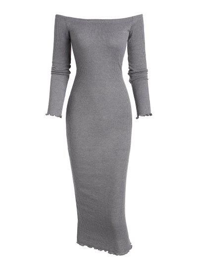Off The Shoulder Bodycon Maxi Ribbed Knit Dress - Gray L