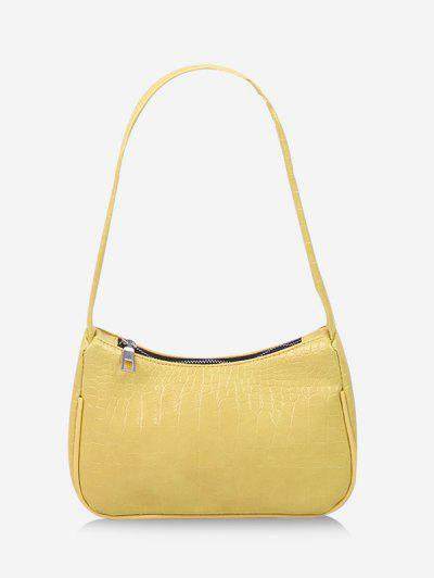 French Style Textured PU Shoulder Bag - Sun Yellow