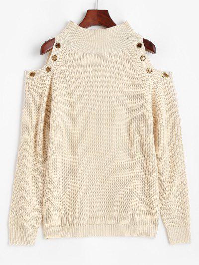 ZAFUL Grommet Cold Shoulder Mock Neck Sweater - Light Coffee L