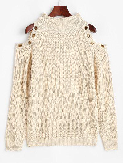 ZAFUL Grommet Cold Shoulder Mock Neck Sweater - Light Coffee S