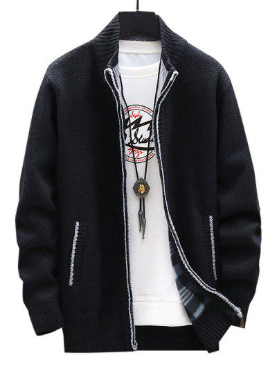 Front Pocket Zip Up Fleece Cardigan - Black Xs