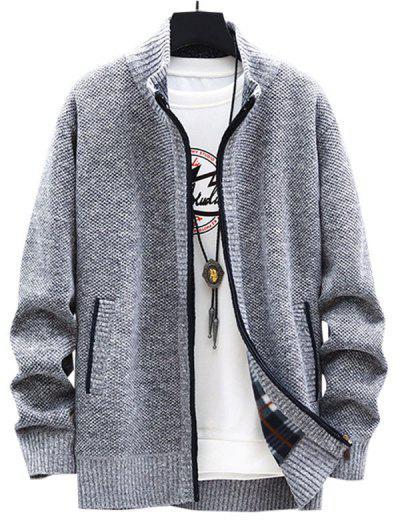 Front Pocket Zip Up Fleece Cardigan - Light Gray S