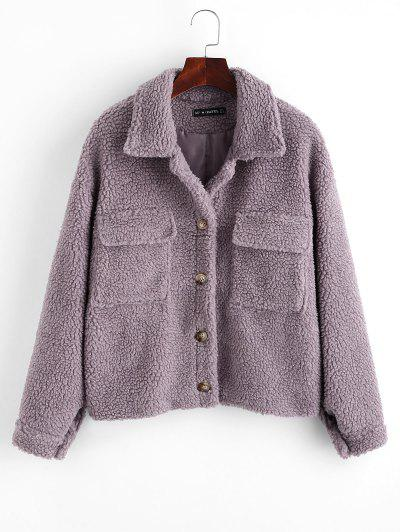 ZAFUL Button Up Flap Pockets Teddy Coat - Purple M