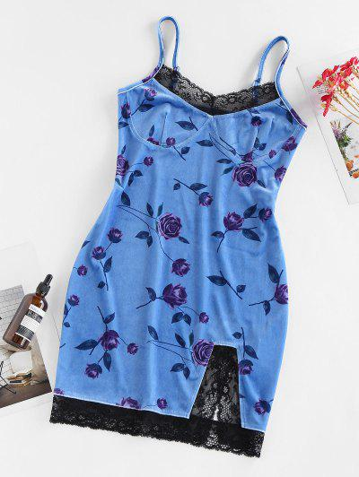ZAFUL Flower Velvet Lace Insert Slit Mini Dress - Sky Blue M