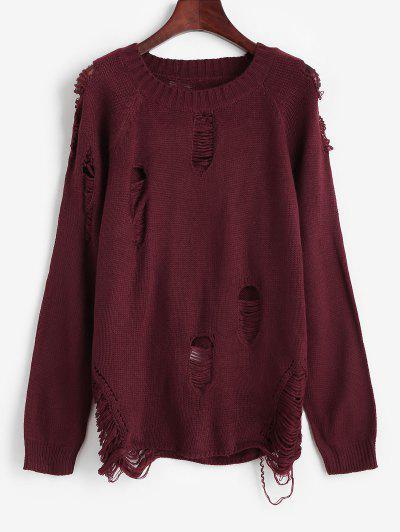 ZAFUL Raglan Sleeve Crew Neck Distressed Sweater - Deep Red M