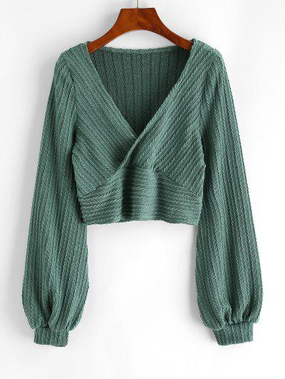 Cable Knit Surplice Cropped Knitwear - Green S