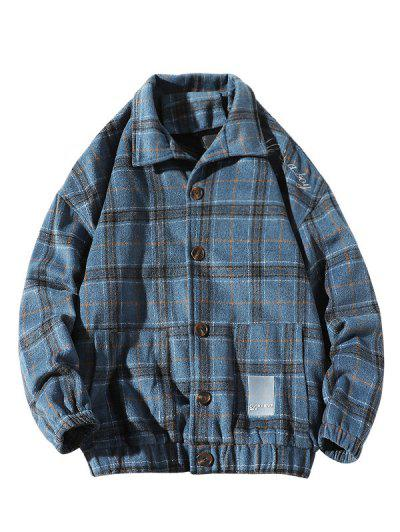 He Is A Boy Embroidery Plaid Button Up Jacket - Blue Xl