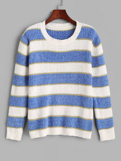 ZAFUL Streifen Glitter Faden Chenille Pullover - Hellblau L