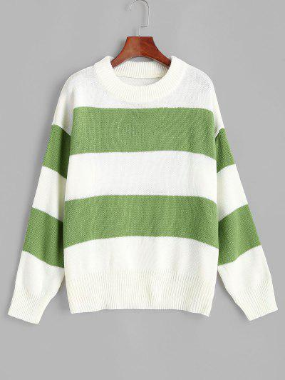 ZAFUL Drop Shoulder Colorblock Stripes Sweater - Deep Green S