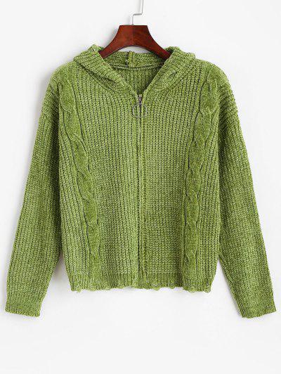 Cardigan In Ciniglia Strappato Con Zip Di ZAFUL A Trecce - Verde Intenso S