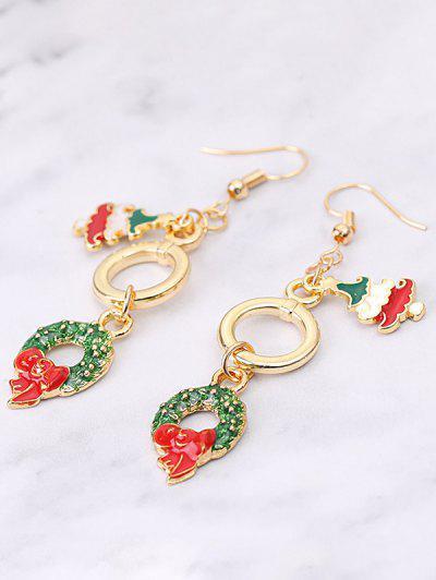 Christmas Tree Garland Dangle Earrings - Golden