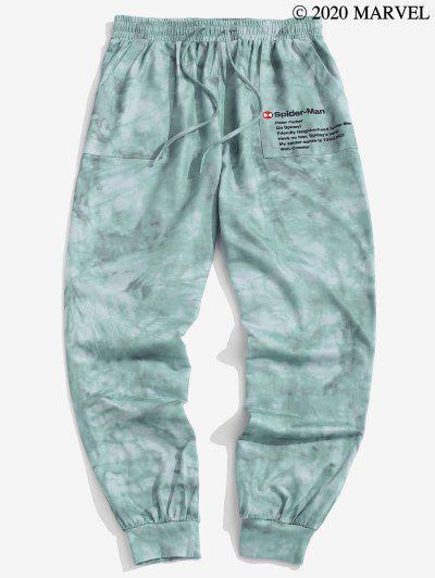 Marvel Spider-Man Text Tie Dye Print Sweatpants - Light Sea Green S