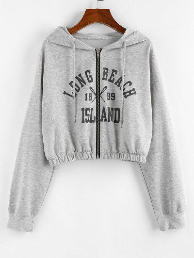 ZAFUL Letter Drop Shoulder Zipper Crop Hoodie - Light Gray S