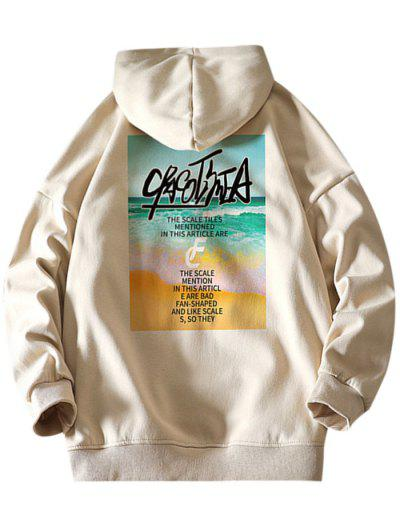 Beach Waves Letter Pattern Graphic Hoodie - Khaki S