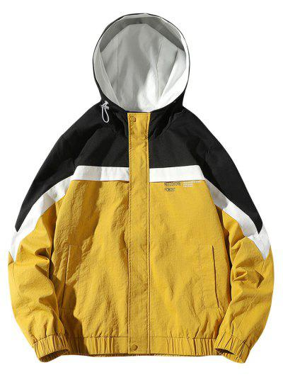 Colorblock Panel Letter Pattern Hooded Jacket - Yellow L