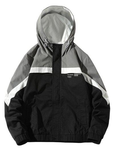 Colorblock Panel Letter Pattern Hooded Jacket - Black S