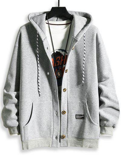 Hooded Button Up Applique Fleece Jacket - Light Gray Xl