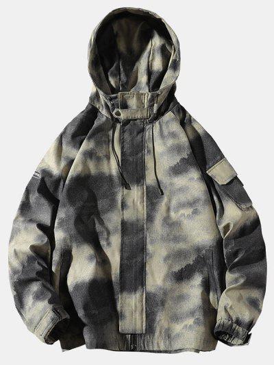 Tie Dye Print Raglan Sleeve Hooded Jacket - Khaki M