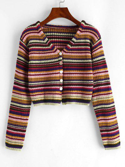 Button Up Cropped Colorful Stripes Cardigan - Multi-a
